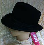 Фетровая мужская шляпа поля 5.8 см цвет коричневый 56, фото 3