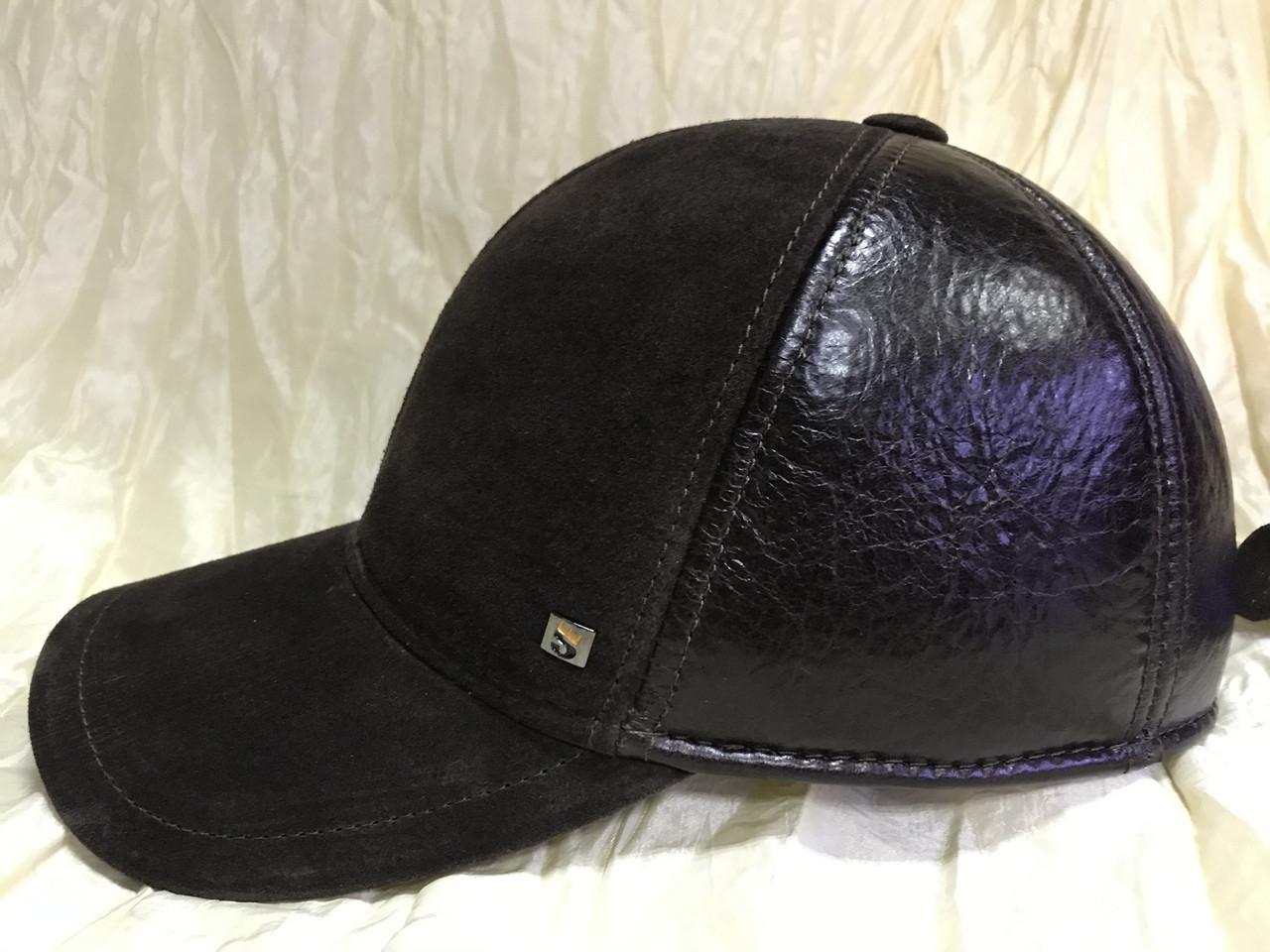 Бейсболка из натуральной замши и кожи 56-58-60 цвет темно коричневый