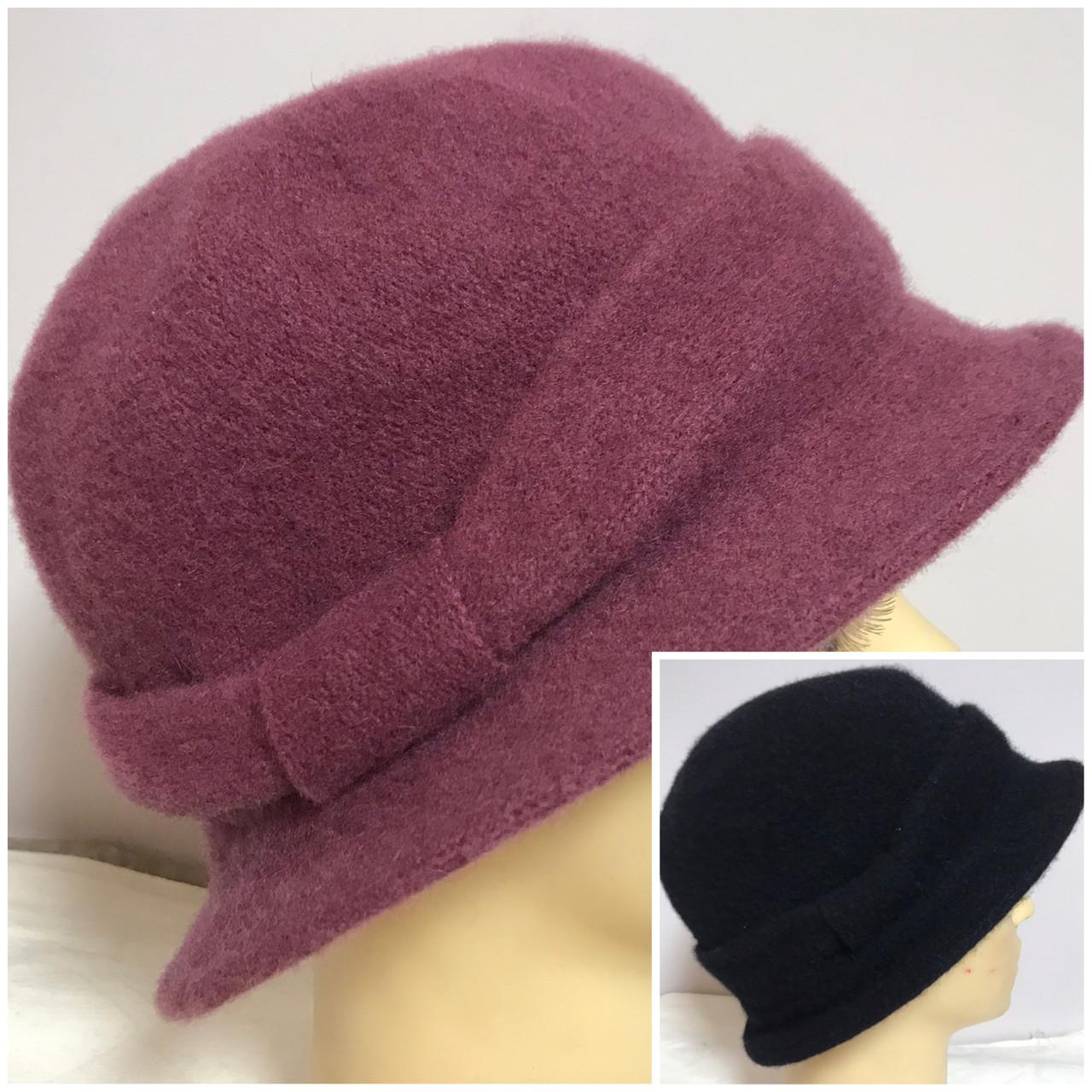 Женская шляпка с маленькими полями  из мягкого фетра  с ободком