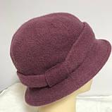 Женская шляпка с маленькими полями  из мягкого фетра  с ободком, фото 4