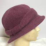 Женская шляпка с маленькими полями  из мягкого фетра  с ободком, фото 6