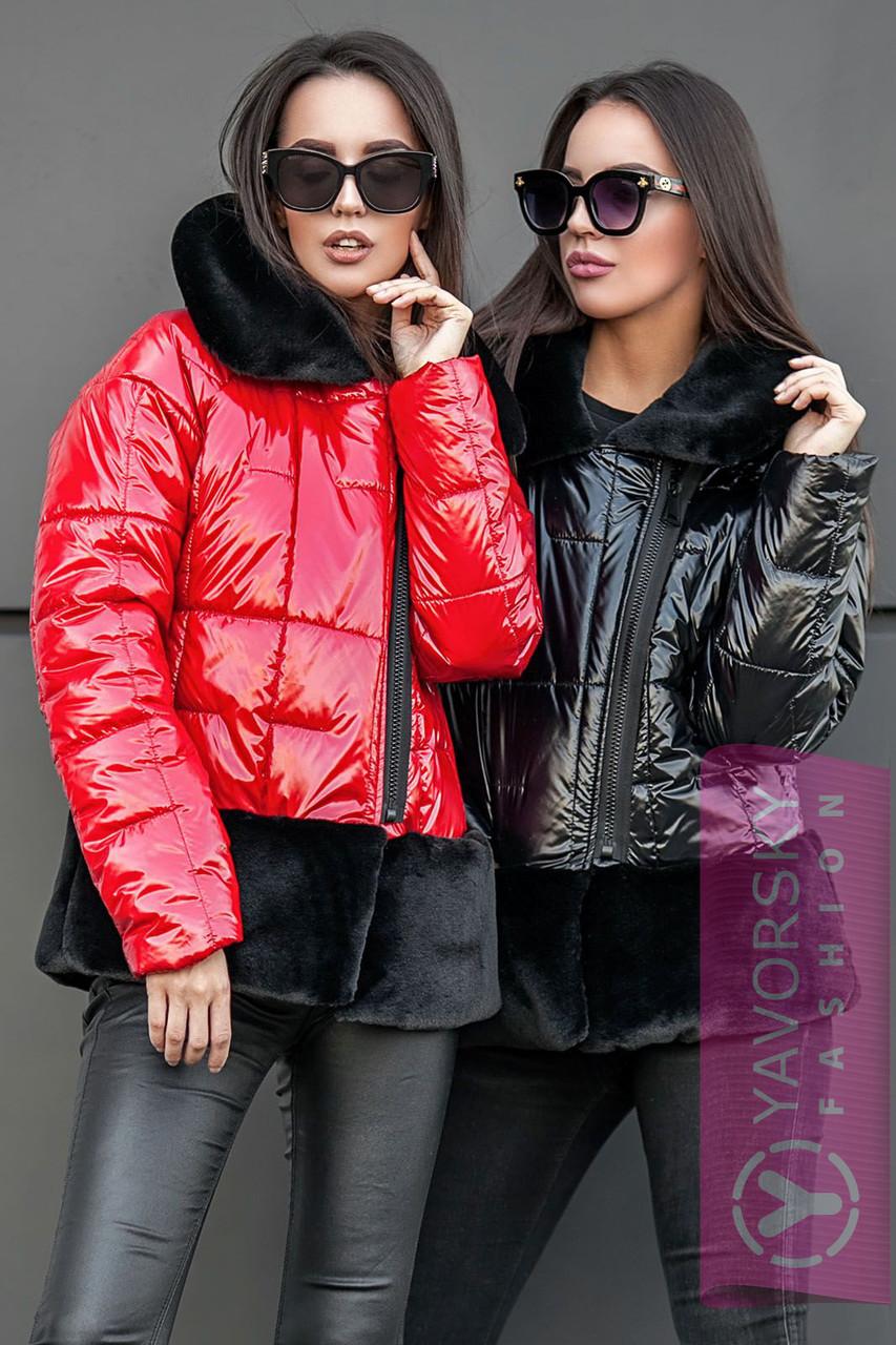 Куртка з плащової тканини і экомеха колір чорний і червоний
