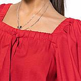 Молодежный льняной костюм размер 42 - 48 цвет красный, фото 2