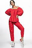 Молодежный льняной костюм размер 42 - 48 цвет красный, фото 3