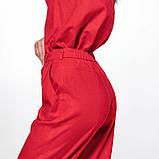 Молодежный льняной костюм размер 42 - 48 цвет красный, фото 5