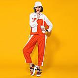 Двухцветный летний костюм лен хлопок размер 42 - 48 цвет красный с белым, фото 3