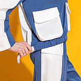 Двухцветный летний костюм лен хлопок размер 42 - 48 цвет красный с белым, фото 5