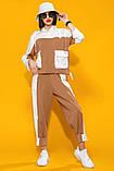 Двухцветный летний костюм лен хлопок размер 42 - 48 цвет красный с белым, фото 7
