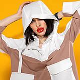 Двухцветный летний костюм лен хлопок размер 42 - 48 цвет красный с белым, фото 10