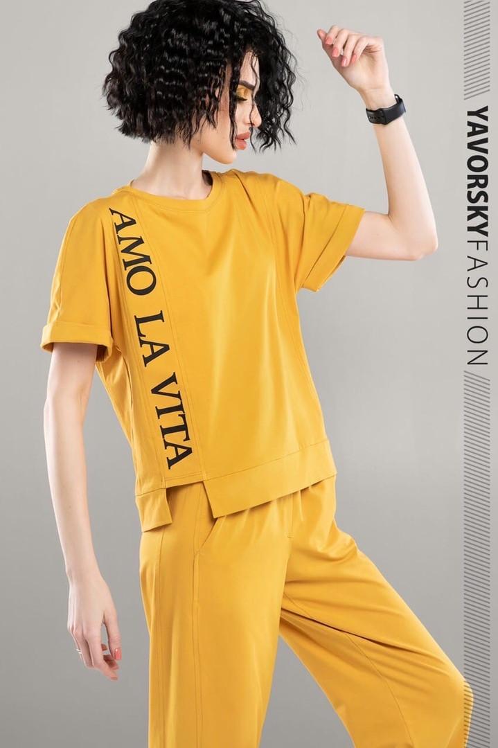 Молодежный костюм из хлопка с надписью размер 42 - 48 цвет желтый