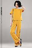 Молодежный костюм из хлопка с надписью размер 42 - 48 цвет желтый, фото 4