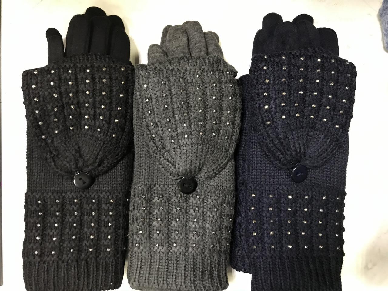 Жіночі комплекти рукавичка+рукавиця сенсор чорні, коричневі і беж