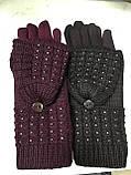 Жіночі комплекти рукавичка+рукавиця сенсор чорні, коричневі і беж, фото 3