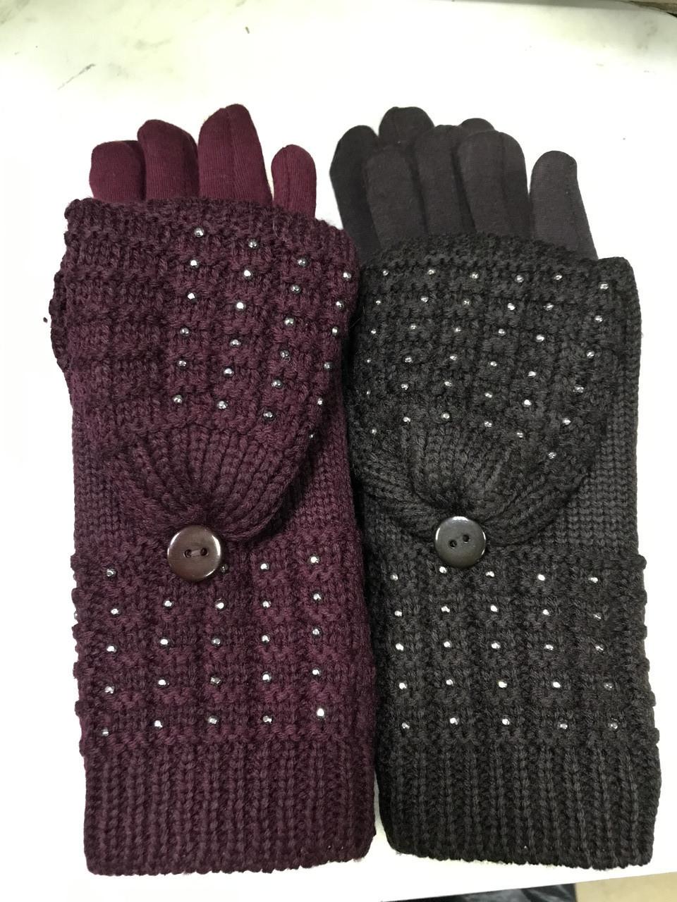 Женские комплекты перчатка+варежка  сенсор цвет чёрные коричневый и беж