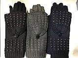 Жіночі комплекти рукавичка+рукавиця сенсор колір чорні коричневий і бежевий, фото 2