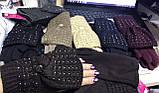 Женские комплекты перчатка+варежка  сенсор цвет чёрные коричневый и беж, фото 5