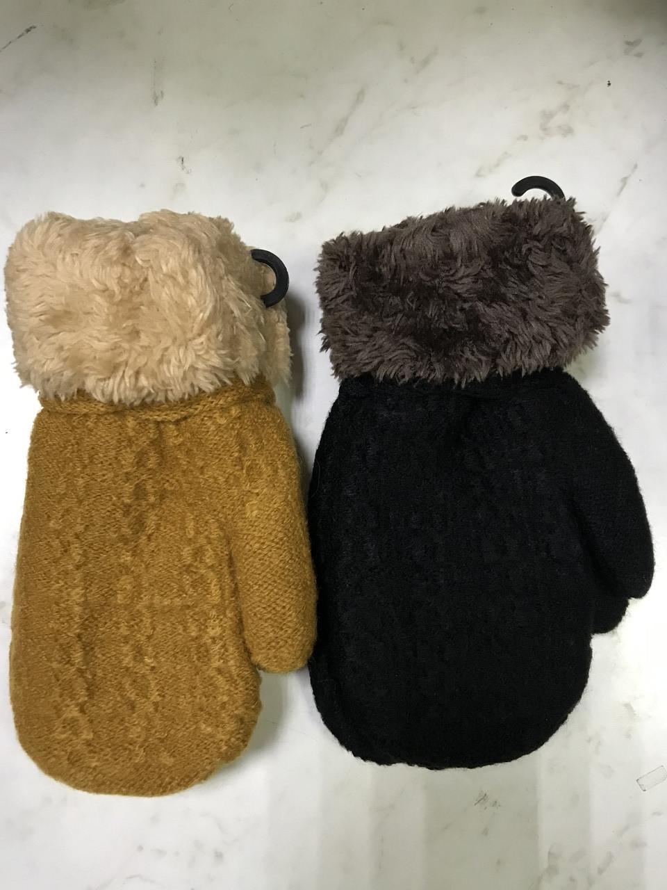 Варежки детские для мальчиков и девочек с меховой подкладкой и отворотом   3-6 лет