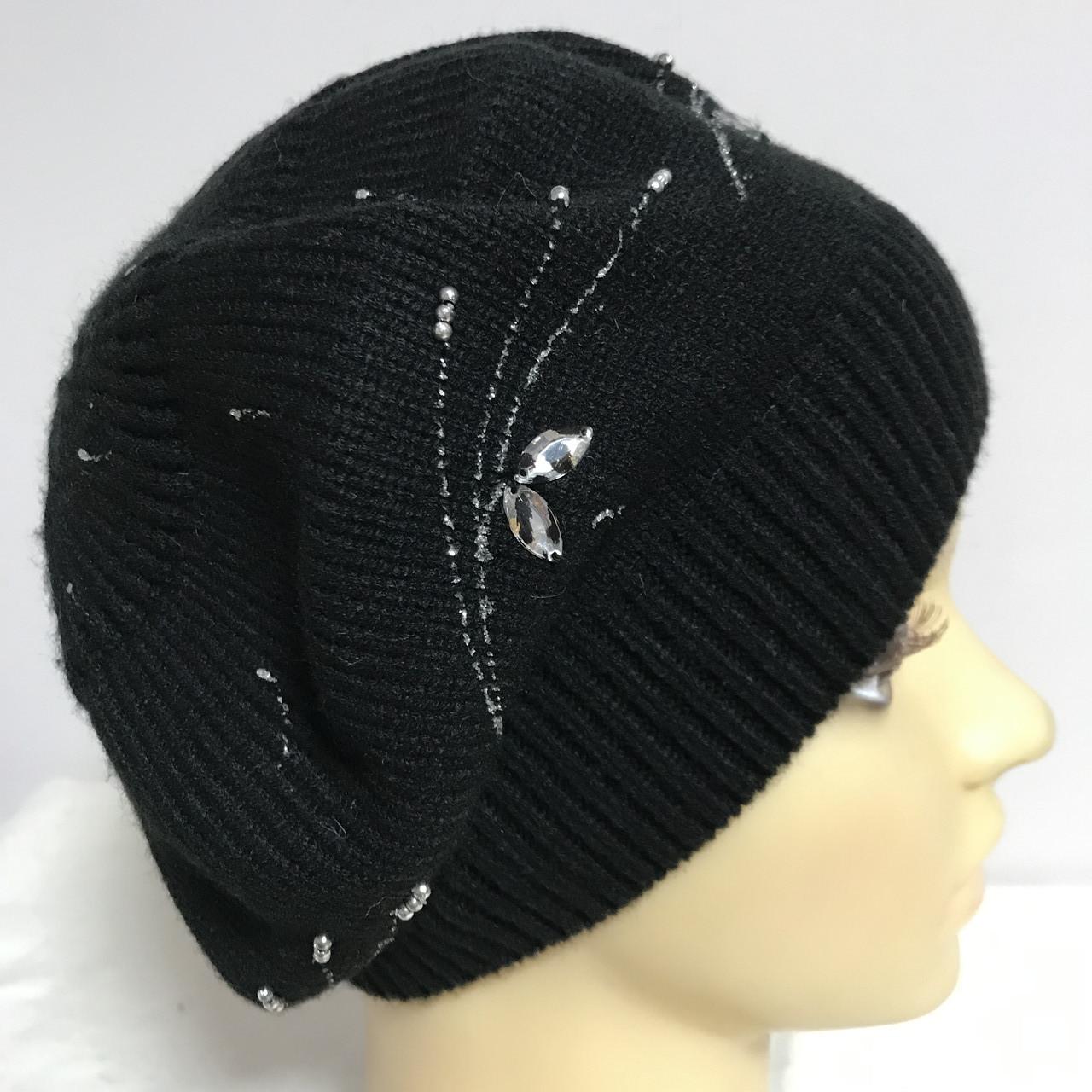 Женский чёрный берет с вышивкой и камнями