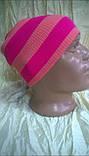 Спортивная шапка двусторонняя  двойной вязки   унисекс цвет  малиновый + розовый, фото 2