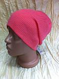 Спортивная шапка двусторонняя  двойной вязки   унисекс цвет  малиновый + розовый, фото 4