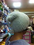 Меховая шапка  из бежевой норки  на вязанной  основе, фото 4