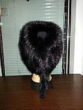 Меховая шапка  из бежевой норки  на вязанной  основе, фото 9