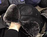 Мужская  ушанка из  натуральной овчины чёрный верх с серым мехом, фото 2