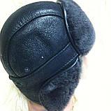 Мужская  ушанка из  натуральной овчины чёрный верх с серым мехом, фото 3