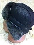 Мужская  ушанка из  натуральной овчины чёрный верх с серым мехом, фото 6