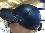 Бейсболка чёрная из натур чёрной кожи 56-58-60, фото 3