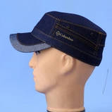 Кепка немка мужская из джинсы на флисе чёрная синяя коричневая 56-57 58 59 60, фото 6