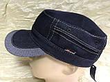 Кепка немка мужская из джинсы на флисе чёрная синяя коричневая 56-57 58 59 60, фото 7