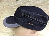 Кепка немка мужская из джинсы на флисе чёрная синяя коричневая 56-57 58 59 60, фото 9