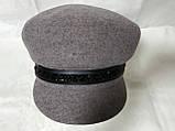 Картуз кепка женская с хлястиком из камней цвета кофе с молоком, фото 3
