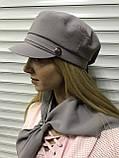 Картуз кепка женская с хлястиком из камней цвета кофе с молоком, фото 8