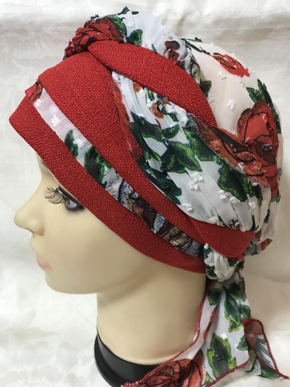 Річна бандана-косинка-тюрбан-шапка з об'ємною червоним джгутом