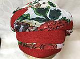 Річна бандана-косинка-тюрбан-шапка з об'ємною червоним джгутом, фото 2