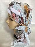 Летняя  бандана-косынка-тюрбан-шапка с объёмной красным жгутом, фото 3