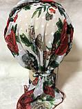Летняя  бандана-косынка-тюрбан-шапка с объёмной красным жгутом, фото 5