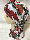 Летняя  бандана-косынка-тюрбан-шапка с объёмной красным жгутом, фото 6