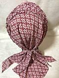Бандана-шапка-косынка бордовая с козырьком и объёмной драпировкой, фото 3