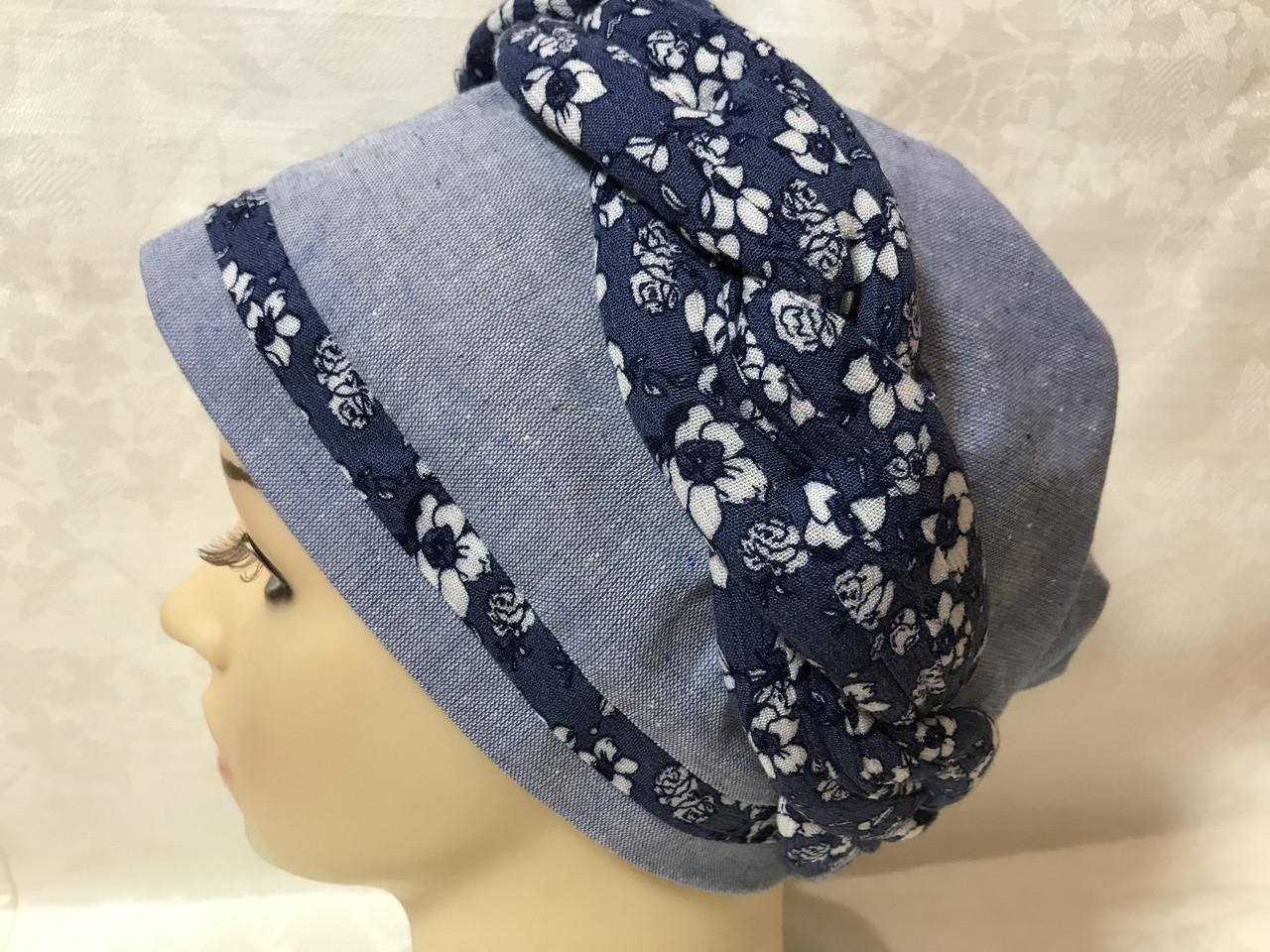 Летняя голубая и сиреневая льняная  бандана-шапка-косынка-чалма-тюрбан