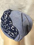 Летняя голубая и сиреневая льняная  бандана-шапка-косынка-чалма-тюрбан, фото 3