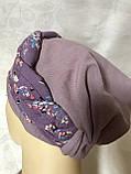 Летняя голубая и сиреневая льняная  бандана-шапка-косынка-чалма-тюрбан, фото 6