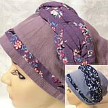 Летняя голубая и сиреневая льняная  бандана-шапка-косынка-чалма-тюрбан, фото 7