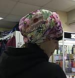 Летняя голубая и сиреневая льняная  бандана-шапка-косынка-чалма-тюрбан, фото 9