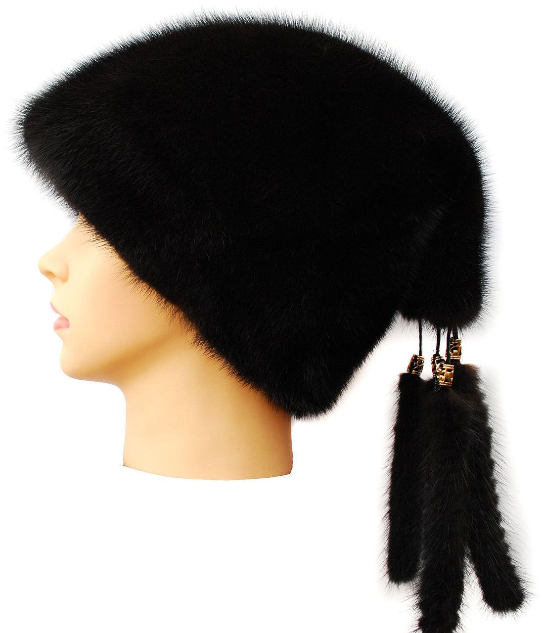 """Женская шапка из норки"""" Козачек 2"""" цвет  черный"""