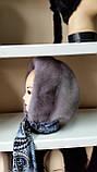 Меховая косынка капюшон из норки цвет сапфир на однотонной ткани, фото 4
