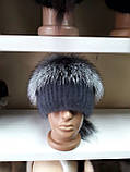 Меховая шапка из норки и чернобурки на вязанной основе, фото 3