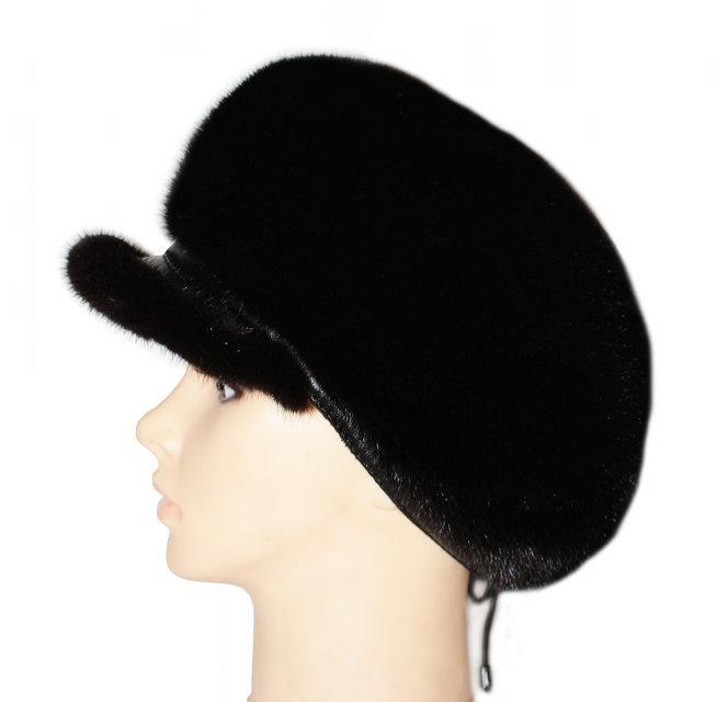 Норковая кепка -берет цвет черный
